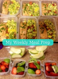 Girl on the Go Weekly Meal Prep: Protein: Salmon (or Chicken Breast) Veggie: Avocado-Corn Salsa (or Broccoli) Snack: Various Fruits Still Hungry? Add Minute-Brown Rice Cup *Tip: Meal prep every Sunday for consistency Healthy Protein Snacks, Healthy Meal Prep, Healthy Dinner Recipes, Healthy Eating, High Protein, Sunday Meal Prep, Meal Prep For The Week, Clean Eating Recipes, Cooking Recipes