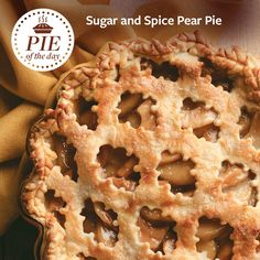 Sugar and Spice Pear Pie Recipe from Taste of Home -- shared by Kristina Pontier, Hillsboro, Oregon