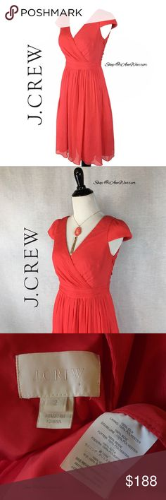 J. Crew coral Mirabell dress in silk chiffon Pretty J. Crew crinkle silk Grecian style dress. Only worn once to attend a garden wedding which was perfect coral color & light enough for outdoors & to dance in. A couple pin holes were left inside the v-neck where I had to pin it for my preference. Excellent condition. Purse sold separately. Necklace not included. Model photo shows fit, available in coral only. Retailed for $265, price firm! Please read my bio regarding closet policies prior to…