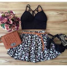 look com saia gode estampada curta Tween Fashion, Look Fashion, Girl Fashion, Fashion Outfits, Casual Skirt Outfits, Cute Summer Outfits, Cool Outfits, Teenager Outfits, Outfits For Teens