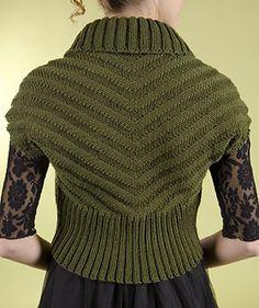 Free knitting pattern for Shawl Collar Chevron Shrug and more easy shrug knitting patterns