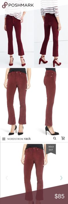 """Cali Demi Boot Velvet Jeans (Dark Cabernet) A fresh take on classic bootcuts, these richly colored and perfectly cropped velvet jeans have season-spanning versatility. Dress them up or down with heels or flats. - 26"""" inseam; 15"""" leg opening; 9 1/2"""" front rise - Zip fly with button closure - Five-pocket style - 98% cotton, 2% elastane - Machine wash cold, tumble dry low - Imported - t.b.d Madewell Jeans Boot Cut"""