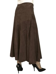 da81fd1797cd Long Suede Leather Asymmetric Full Midi-Maxi Gypsy Skirt