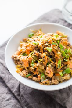 This Whole30 egg roll in a bowl is a wonderfully flavorful, quick Whole30 dinner, packed with protein and protein and is budget-friendly. This Whole30 dinner comes together easily for a quick paleo dinner. Uh, yum.
