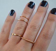 Knuckle Ring Gift Set- Set of 4- 14K Gold Filled Stacking Rings, Gold Knuckle Rings, Beaded Ring, Midi Rings