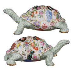 Herend Tesserae Tortoise.  The shell is a mosaic representing many of the different Herend dinnerware patterns.