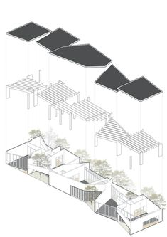 Living Art Pavilion,Exploded diagram Image 24 of 28 from gallery of Living Art Pavilion / MOZHAO ARCHITECTS. Axonometric drawing of the interior Architecture Concept Drawings, Architecture Collage, Architecture Graphics, Architecture Portfolio, Futuristic Architecture, Architecture Design, Chinese Architecture, Architecture Office, Shenzhen