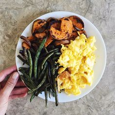 favorite lunch of late: scrambled eggs, roasted green beans and sweet potatoes (plus an unpictured apple!)