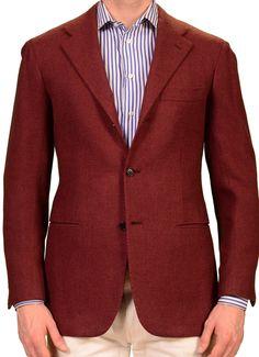 KITON Napoli Brick Red Cashmere Blazer Jacket EU 48 NEW US 38