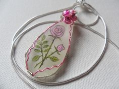 "Pink rose and bead - Hand painted wire wrapped sea glass necklace - Sterling silver plated 18"" chain by ShePaintsSeaglass on Etsy"