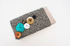 Black and White Herringbone Trifold Clutch by Singsthesparrow, $48.00