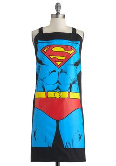 Supper Hero Apron in Superman. Your favorite fella can make an epic quiche, mend any crooked cake, and shake a cocktail that packs a punch, so why not let him look the part of the gallant gourmet this amazing apron, as featured in All You Magazine? #blue #modcloth