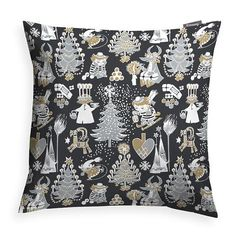Christmas Moomin black decorative pillow cover