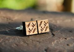 Personalized Men's Walnut or Oak Cufflinks by mini-Fab | Hatch.co