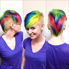 Www.facebook.com/killerlocksbyjoe #rainbowhair #lariche #directions #haircolor #rainbow #lisafrank #90's #lasvegas #neon #haircut Neon Hair, Lisa Frank, Rainbow Hair, Haircolor, Locks, Hair Inspiration, Hair Cuts, Facebook, Hair Styles