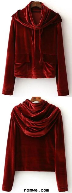 Buy 1 Get 1 90% Off - Burgundy Hooded Velvet Sweatshirt With Pocket
