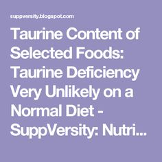 Taurine Content of Selected Foods: Taurine Deficiency Very Unlikely on a Normal Diet - SuppVersity: Nutrition and Exercise Science for Everyone