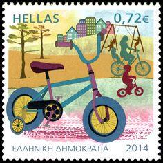 Το ποδήλατο – Οικολογικό μέσο μετακίνησης, τυπώθηκε και κυκλοφόρησε στις 1  Ιουνίου του 2014 Increase Knowledge, Postage Stamp Art, Going Postal, Tampons, Mail Art, Stamp Collecting, My Stamp, Badge, Greece