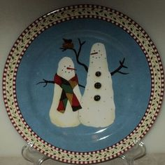 Sakura Debbie Mumm Snowman Black Bird Christmas Salad Plate Holiday Light Blue  ~ This Item is for sale at LB General Store http://stores.ebay.com/LB-General-Store ~Free Domestic Shipping ~