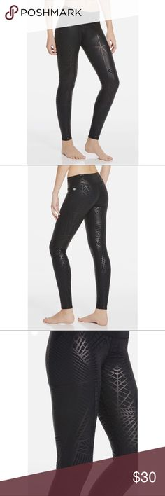 Salar Leggings in Black Ice Only worn once  Slip into a subtle, shiny print version of our bestselling bottoms, so there's never a dull moment at the gym. They're not only pretty, they work hard too with all-stretch and moisture-control technology.  Perfect for: High-impact activities like cardio, bootcamp and HIIT. Fabletics Pants Leggings