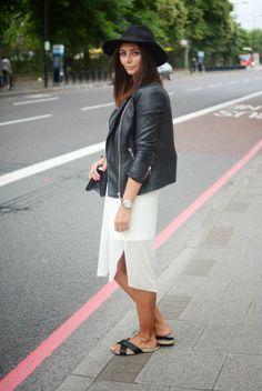Cream sheer overlay dress, leather jacket, chanel boy bag, Dune (Isabel Marant style) slides, Fedora hat London Street Style EJSTYLE Fashion Blogger