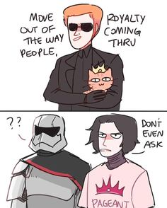 follow up to that doodle I posted yesterday. at this point everyone's a peasant on this ship ahahaha #kyloren #generalhux #captainphasma #millicent #starwars #theforceawakens #starwars7 #kylux #randomsplashes #tumblr