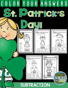 #StPatricksDay Math: St. Patrick's Day Fun! St. Patrick's Day Subtraction Facts - Color Your Answers Printables for St. Patrick's Day Subtraction in your classroom. This math resource includes: FIVE No Prep Printables that can be used for your math center, small group, RTI pull out, seat work, substitute days or homework, answer keys included too!These high interest black and white printables are great for seat work, homework or small group work.  #TpT #FernSmithsClassroomIdeas $