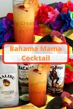 What is a Bahama Mama Cocktail? A cocktail made with Captain Morgan, Bacardi, and Malibu rum with pineapple and orange juice for a tropical flavor. Bacardi Drinks, Malibu Drinks, Bacardi Rum, Malibu Rum, Cocktails, Bahama Mama Drink, Bahama Mama Cocktail, How To Make Rum, How To Make Drinks
