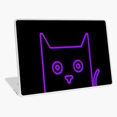 """Peekaboo Neon Cat"" Laptop Skin by EmblemThreads"
