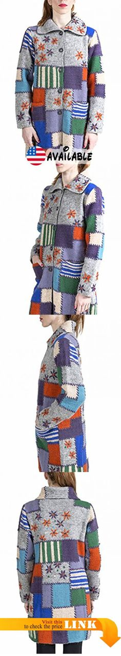 """B074YB59ZZ : """"Color Patch"""" Long Cardigan with floral motifs - 6232. Material: 100% pure Icelandic wool 100% cotton lining. Long multi color cardigan. Patchwork inspired color blocked design with floral embroidery. Front button closures and pockets. Fully lined with cotton lining"""