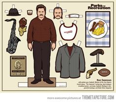 Ron Swanson cut out doll…