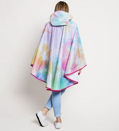 Colourful Tie-Dye Pattern Waterproof Poncho Cape - PonchU Waterproof Poncho, Rain Poncho, Tie Dye Patterns, Cape, Ballet Skirt, Skirts, Collection, Color, Fashion