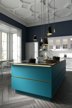Modern kitchen in a classic architectural setting with white gloss doors featuri… Modern Interior Design, Interior Design Kitchen, Teal Kitchen Designs, Rustic Kitchen, Kitchen Decor, Kitchen Furniture, Wren Kitchen, Design Bleu, White Shaker Kitchen
