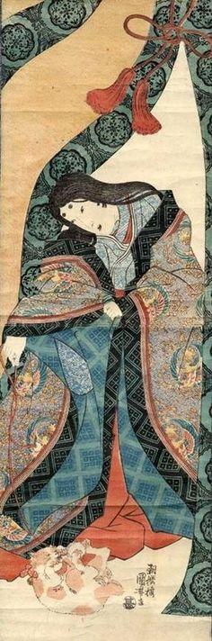 Utagawa Kuniyoshi 歌川国芳 The Third Princess 女三の宮 The Tale of Genji. A woman dressed in junihitoe.