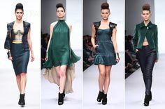 Plumas, colores neutros y su emblemático bustier, la elegante propuesta de Sandra Weil en la #Fashionweekmx