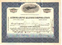Aeromarine Klemm Corporation. Single engine,  open cockpit airplane. Delaware. 1929. Uncancelled