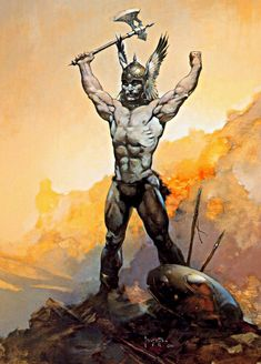 Frank Frazetta Victorious oil painting for sale; Select your favorite Frank Frazetta Victorious painting on canvas and frame at discount price. Frank Frazetta, Science Fiction, Image Comics, Brooklyn, Vikings, Robert E Howard, Conan The Barbarian, Sword And Sorcery, Pulp Art