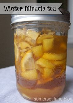 Soak lemons and ginger in honey, using just a tablespoon of the mixture in a cup of boiling water! Love this idea :-) http://www.somersetlaneblog.com/2014/01/winter-cold-miracle-tea-it-works.html?utm_content=buffer5ae92&utm_medium=social&utm_source=pinterest.com&utm_campaign=buffer