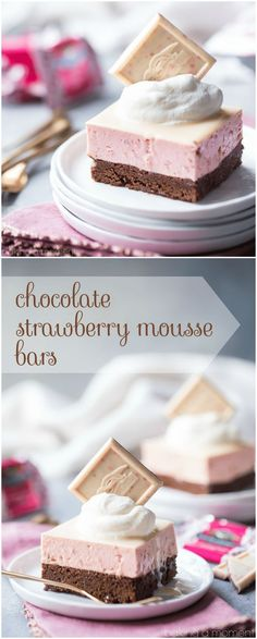 Would be easy to convert to gluten free: Chocolate Strawberry Mousse Bars: layers of nearly-flourless chocolate torte and airy strawberry mousse, topped with a white chocolate glaze. Whisper-light and so pretty! Flourless Chocolate Torte, Chocolate Glaze, White Chocolate, Baking Chocolate, Chocolate Art, Chocolate Covered, Cold Desserts, Easy Desserts, Delicious Desserts