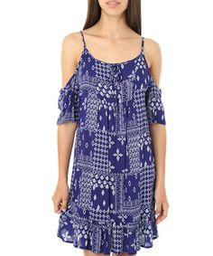 This Navy Patchwork Off-Shoulder Dress - Juniors is perfect! #zulilyfinds