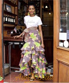Layered Skirt With Front Split African Print Skirt, African Print Fashion, Mini Frock, Beautiful Ankara Styles, Long Skirt Fashion, Skirt Images, Latest Ankara Styles, Ankara Skirt, Layered Skirt