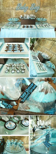 Baby Boy dessert table / Blue and brown color palette - Mesa de postres y dulces para baby shower de niño color celeste con café