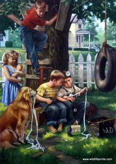 House Call (by Charles Freitag) Doctor For Kids, Children Doctor, Art Pictures, Photos, Pretty Art, Beautiful Paintings, Dog Art, Vintage Children, Vintage Art