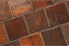 Recycled copper tile backsplash.