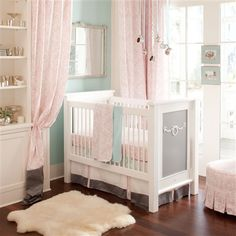 Ritzy Baby Crib Bedding | Girl Baby Bedding in Pink and Mist| Carousel Designs. LOVE, LOVE, LOVE $189.00 for  three piece set