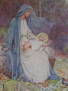 Baby Jesus in the lap of his Mother Mary by Margaret Tarrant {not actual title of painting}