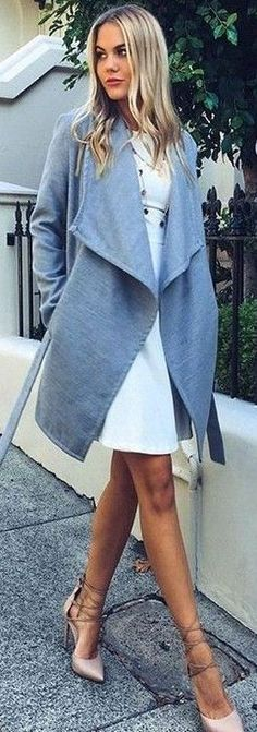 #fall #executive #peonies #outfits   Grey Coat + White Dress