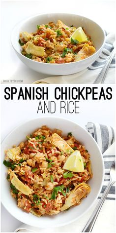 A flavorful mix of rice, chickpeas, artichoke hearts, bold spices, and fresh lemon that cook together in one single skillet.