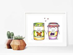 Home decor - kitchen decor - nursery decor - print art - wall art - drawing - art print - print - peanut butter and jelly illustration by madeinhappy on Etsy Drawing Art, Art Drawings, Home Decor Kitchen, Nursery Decor, Jelly, Peanut Butter, Doodles, Illustrations, Art Prints
