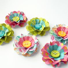 Handmade DIMENSIONAL FLOWERS with BUTTON by PapersAndPetals